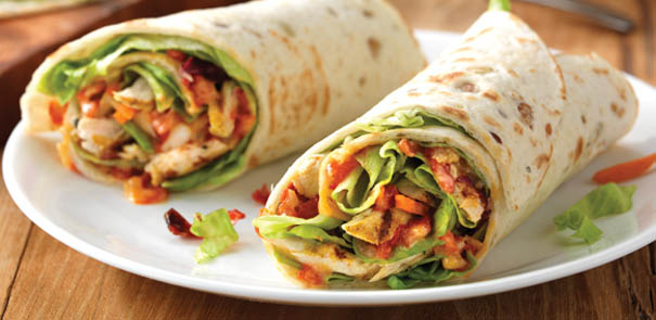 One is a Thai Turkey wrap, and the other is a scrumptious chicken wrap ...