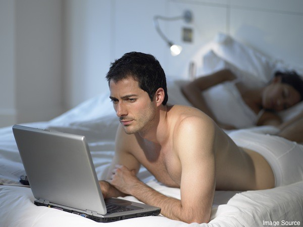 he watches porn
